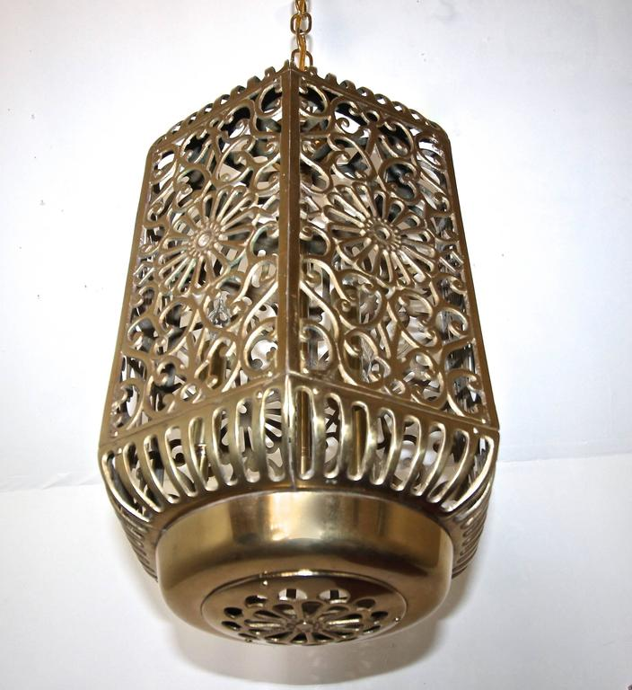 Ceiling Light Japanese: Large Pierced Filigree Brass Japanese Asian Ceiling