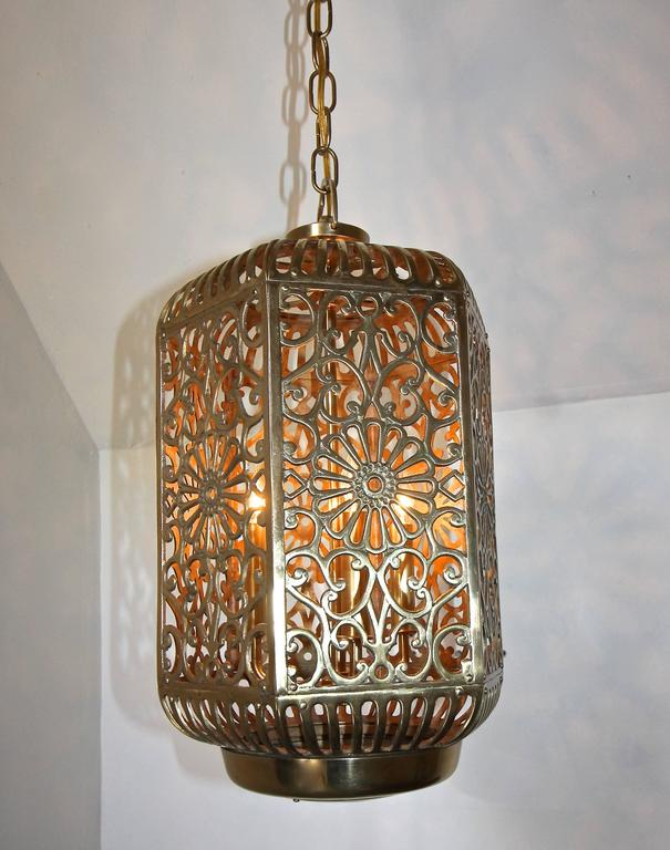 Large pierced filigree brass japanese asian ceiling pendant light lacquered large pierced filigree brass japanese asian ceiling pendant light for sale aloadofball Choice Image