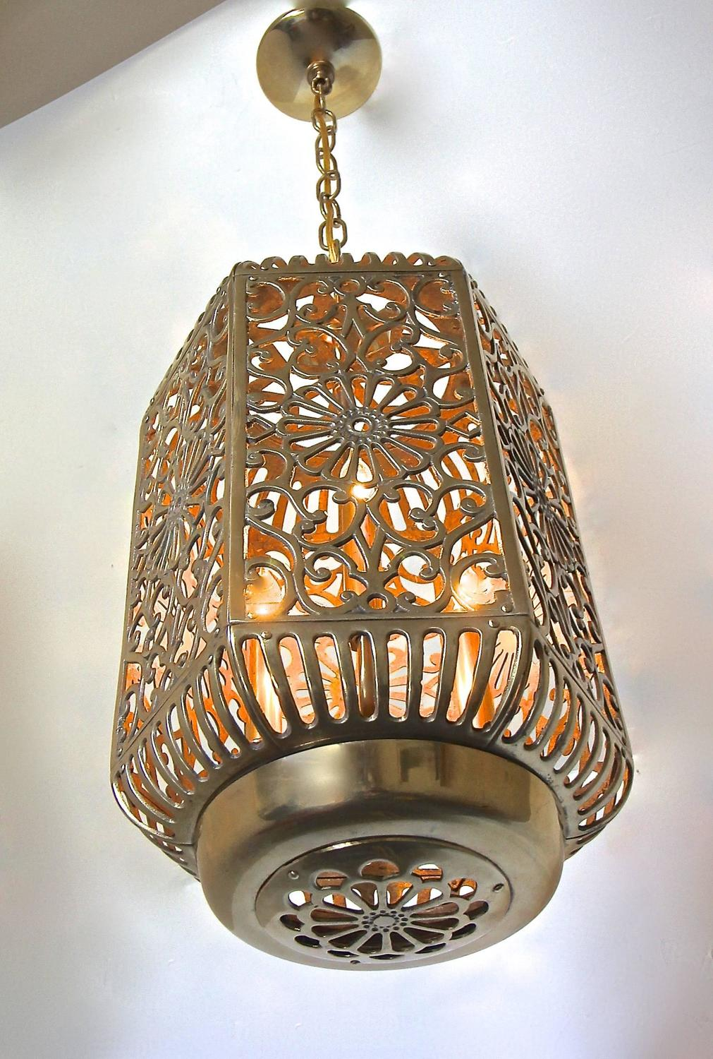 Large Pierced Filigree Brass Japanese Asian Ceiling