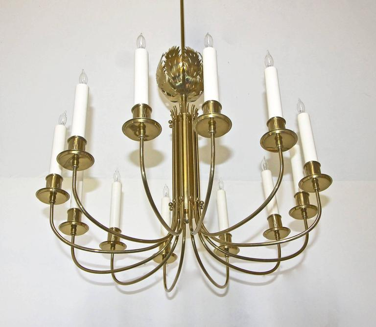 A Very Rare Solid Brass Chandelier Designed By Tommi Parzinger For Originals And Handcrafted