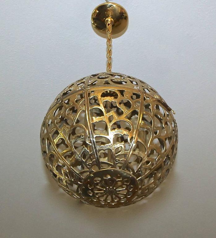large pierced filigree brass japanese asian ceiling