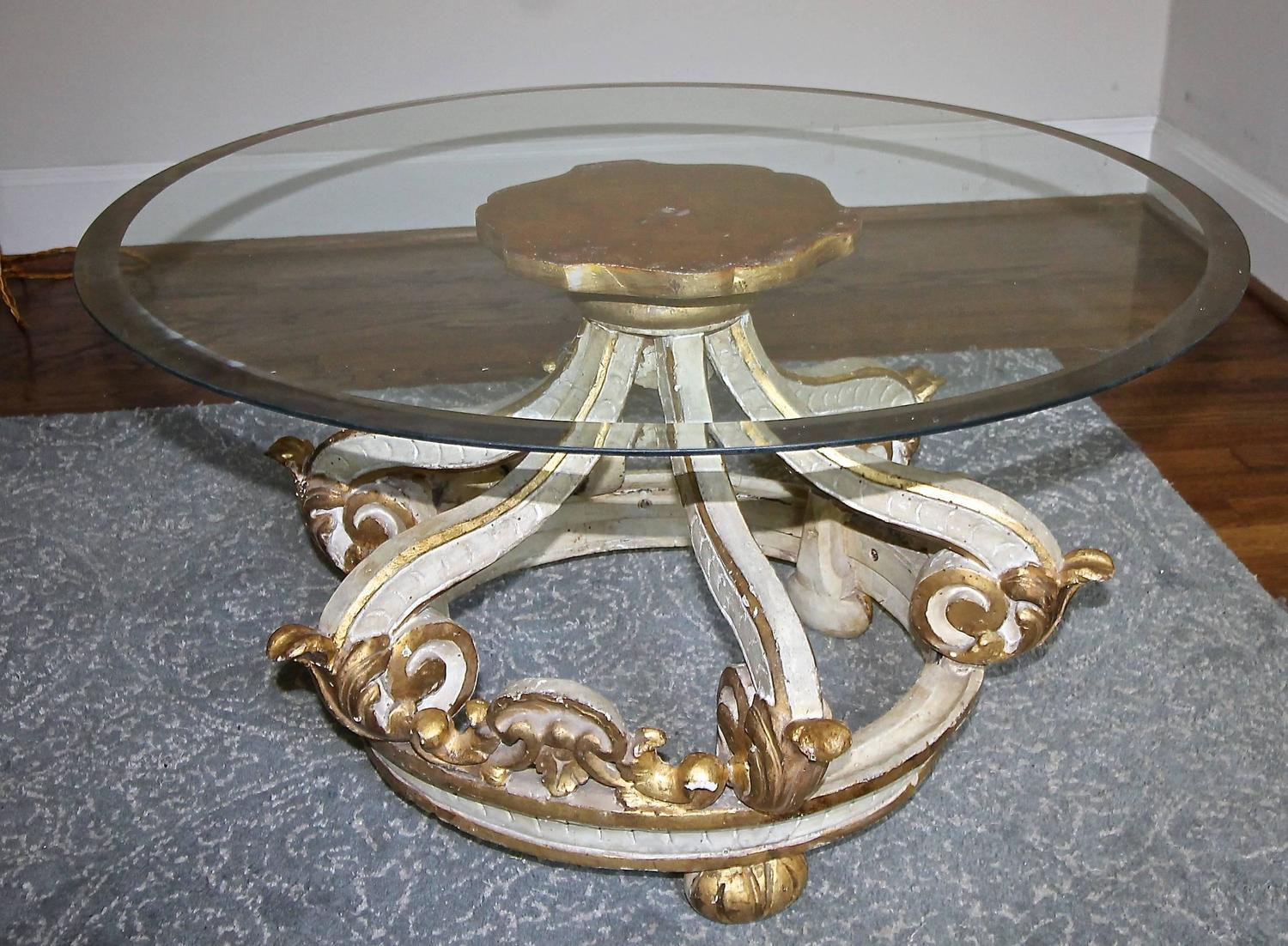 Italian parcel gilt corona coffee cocktail table for sale at 1stdibs Used glass coffee table