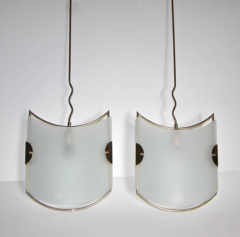 Etched Pair of Italian Glass Brass Pendants Ceiling Lights For Sale