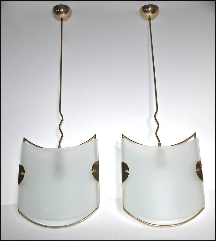 Pair of Italian Glass Brass Pendants Ceiling Lights For Sale 1