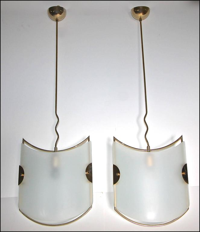 Pair of Italian Glass Brass Pendants Ceiling Lights For Sale 2