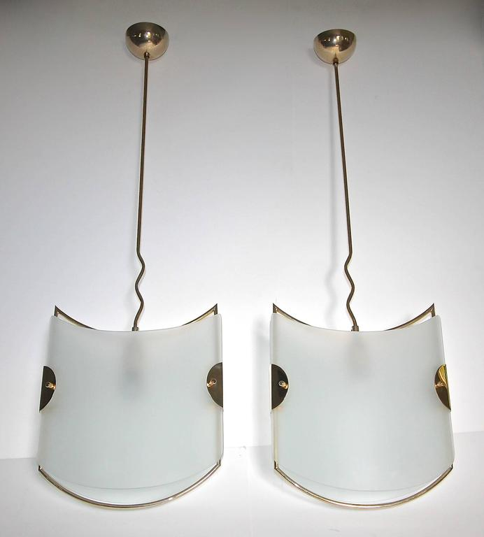 Pair of Italian Glass Brass Pendants Ceiling Lights For Sale 4
