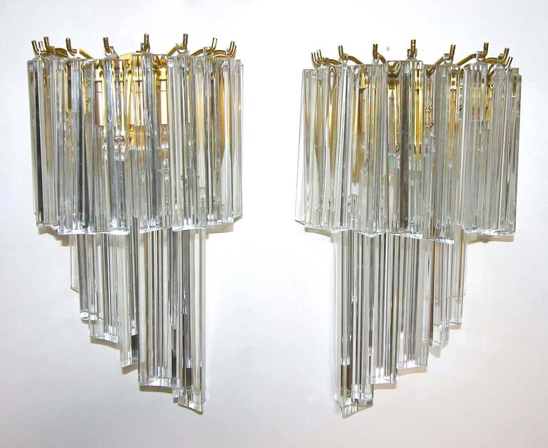 Wall Sconce With Prismatic Glass : Four Venini Italian Triedri Glass Prism Wall Sconces at 1stdibs