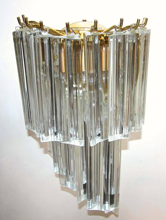 Wall Sconce With Prismatic Glass : Pair of Venini Italian Triedi Glass Prism Wall Sconces For Sale at 1stdibs