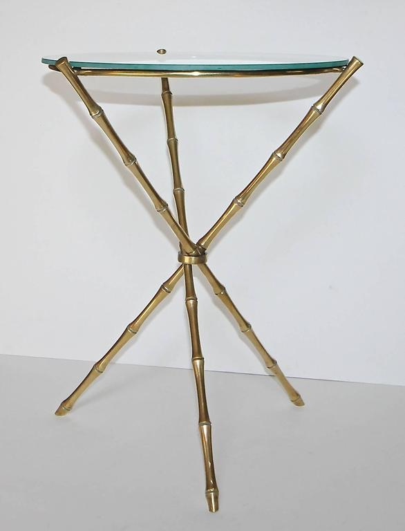 Mid-20th Century French Maison Baguès Style Faux Bamboo Brass Tripod Side Table For Sale