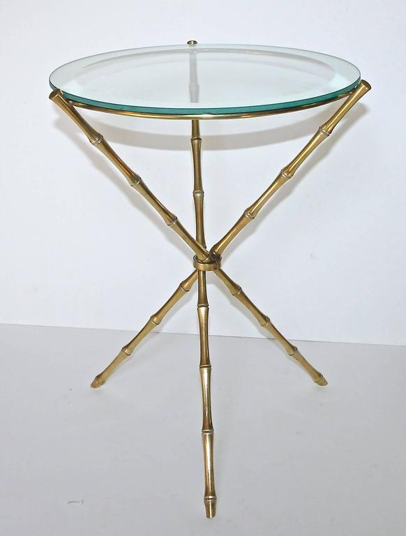 French Maison Baguès Style Faux Bamboo Brass Tripod Side Table 10