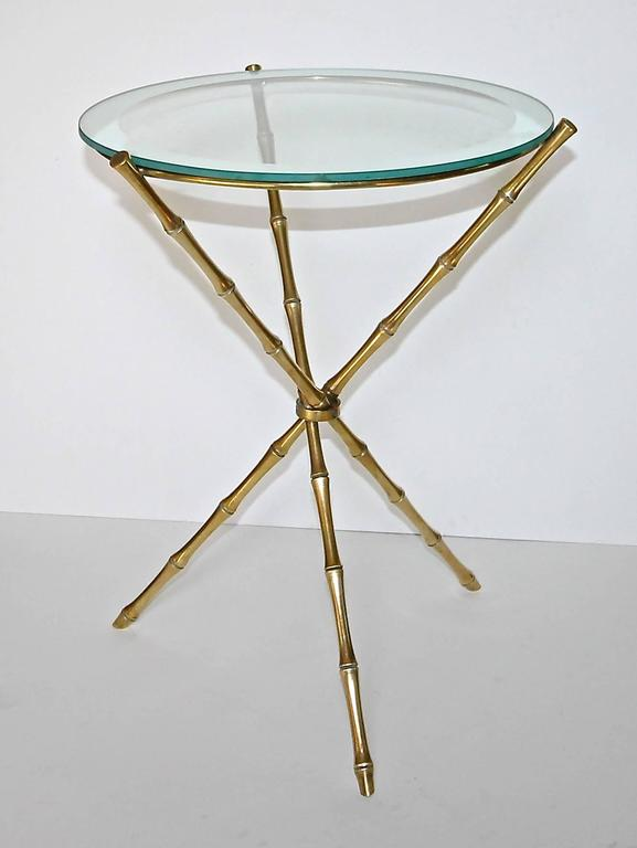 French Maison Baguès Style Faux Bamboo Brass Tripod Side Table In Good Condition For Sale In Dallas, TX
