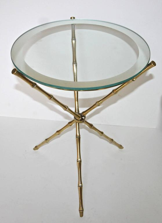 French Maison Baguès Style Faux Bamboo Brass Tripod Side Table For Sale 1