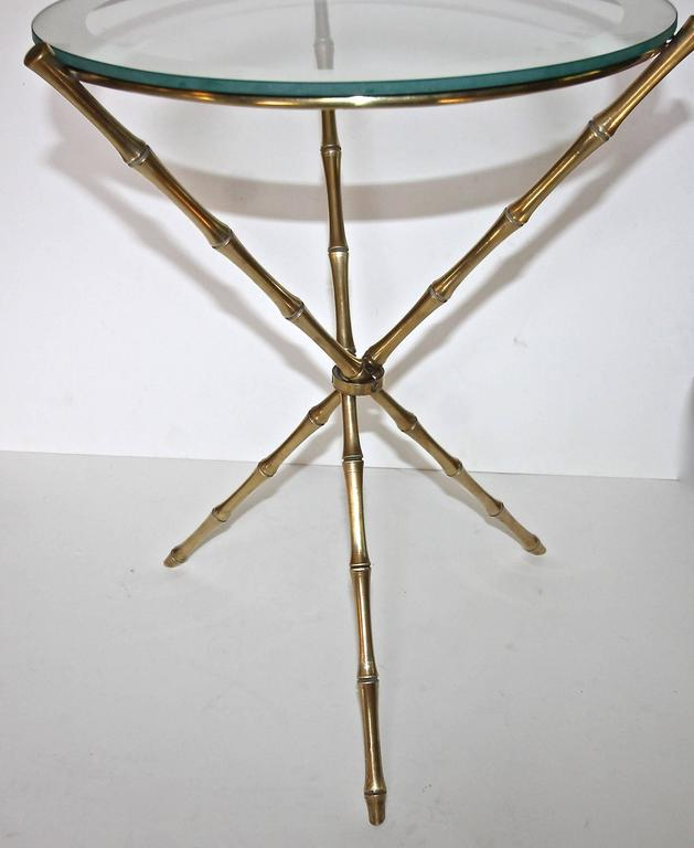 French Maison Baguès Style Faux Bamboo Brass Tripod Side Table For Sale 2