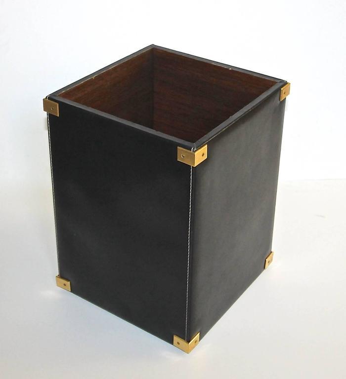 Italian Sofa Brent Cross: Mark Cross Italy Leather Brass Wastepaper Basket At 1stdibs