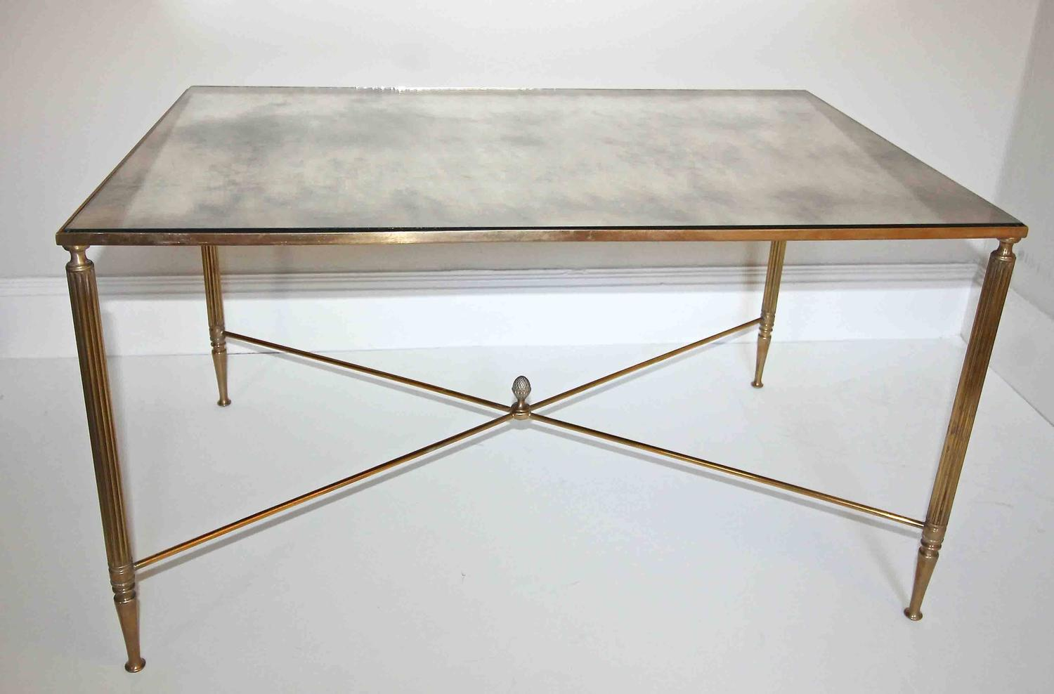 French Brass X Base Antiqued Mirror Top Cocktail Table For Sale At 1stdibs
