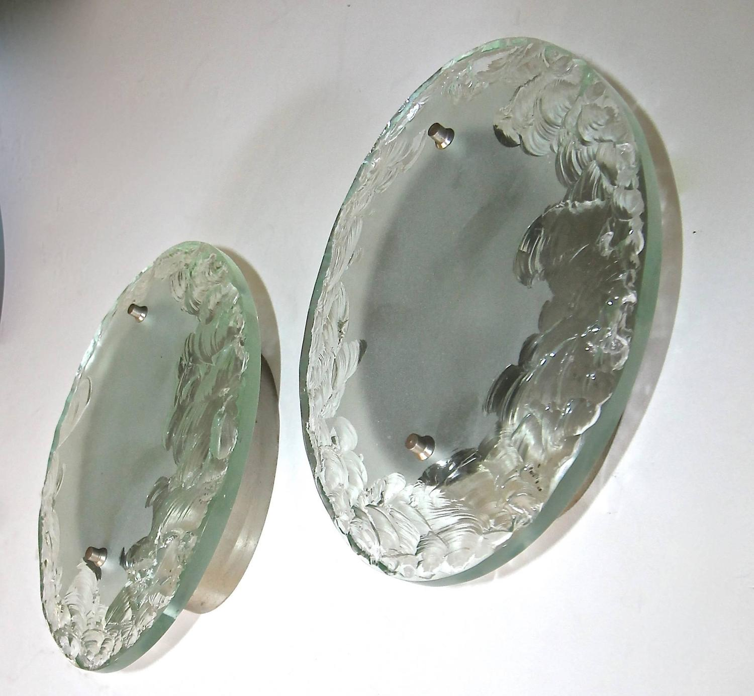 Pair of Italian Fontana Arte Style Broken Glass Wall Sconces For Sale at 1stdibs