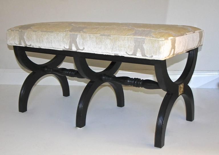 Dorothy Draper Style Ebonized Wood X Base Upholstered Bench For Sale At 1stdibs