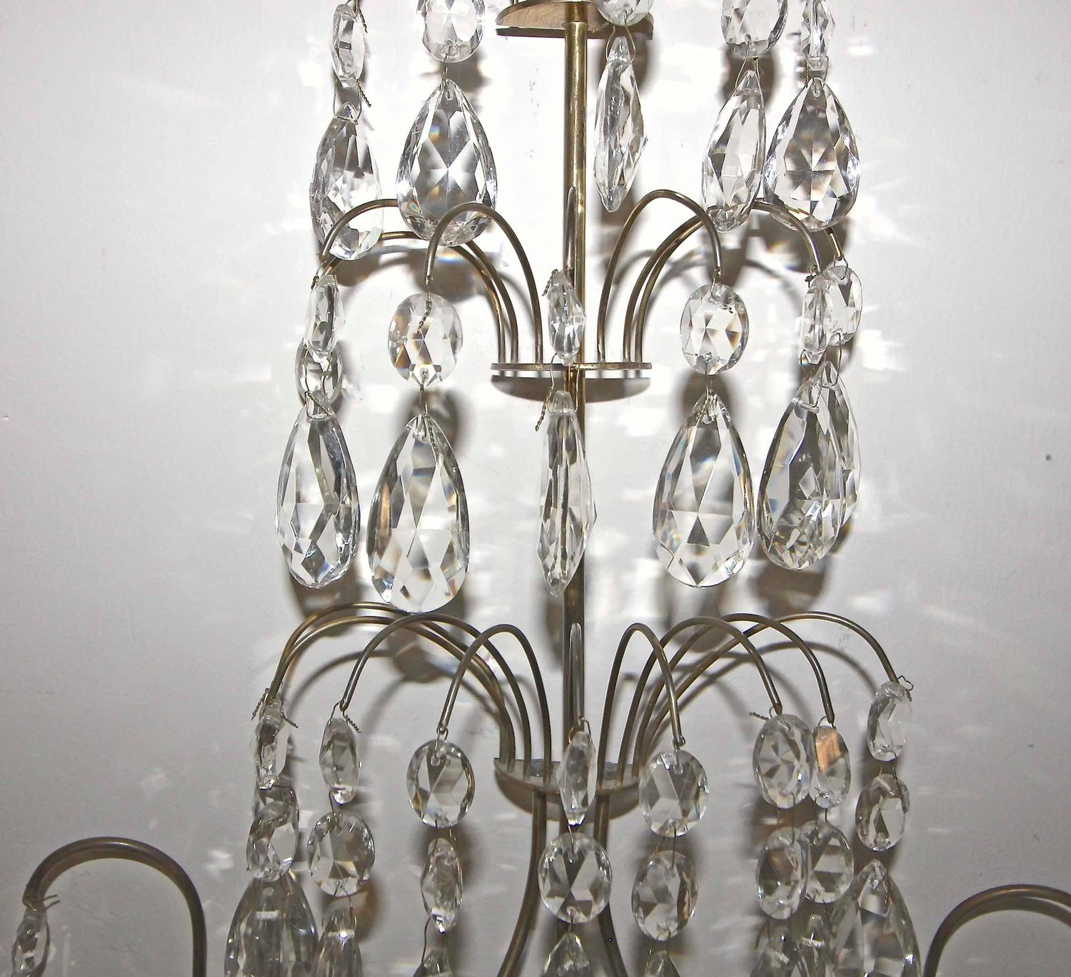 Pair of Swedish Gustavian Style Crystal and Brass Candle Wall Sconces For Sale at 1stdibs