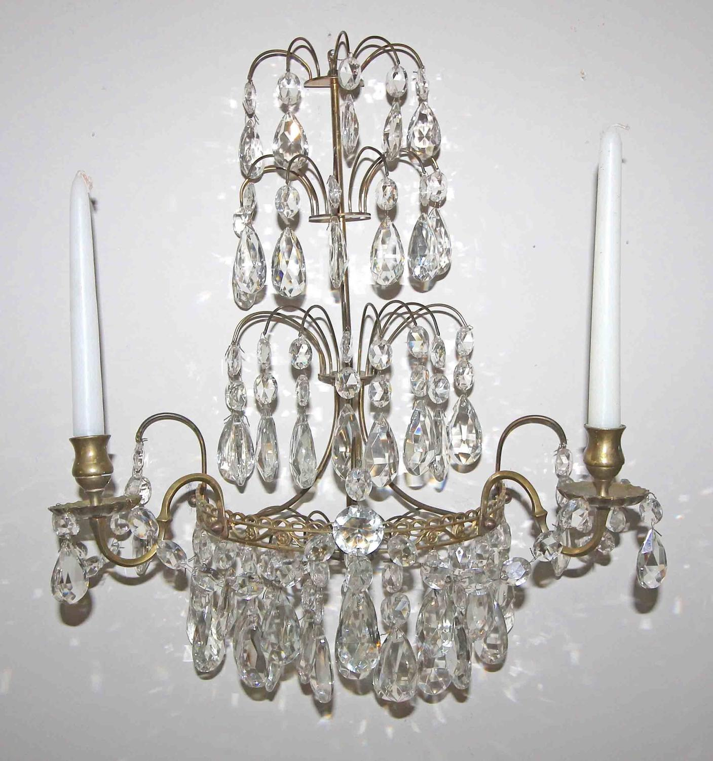 Wall Sconces For Candles With Crystals : Pair of Swedish Gustavian Style Crystal and Brass Candle Wall Sconces For Sale at 1stdibs
