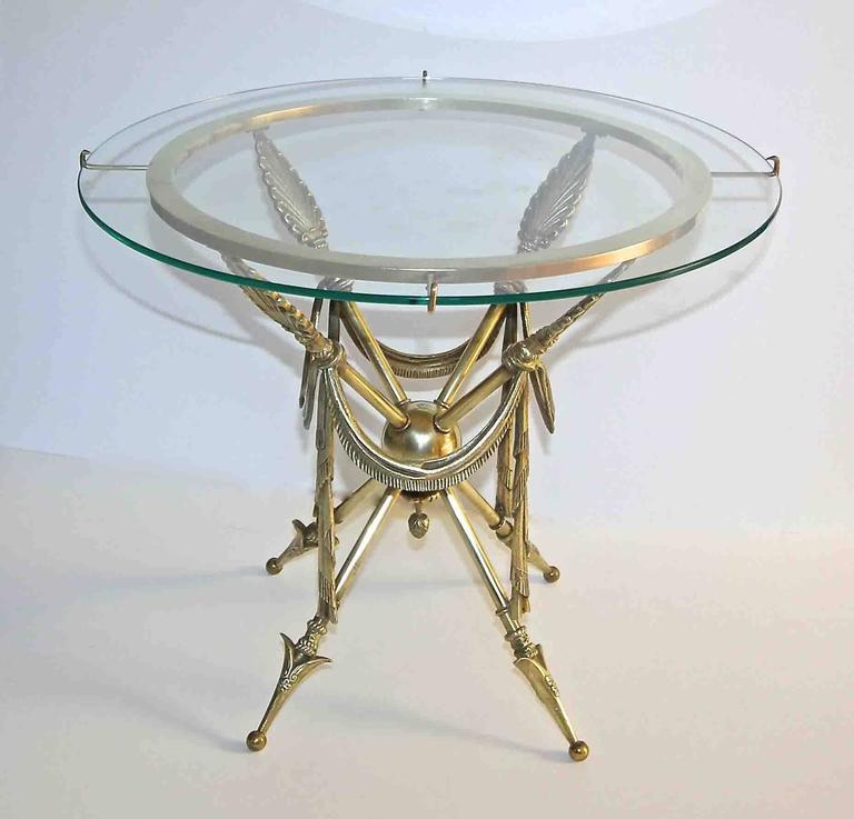 French Arrow Swag Neoclassic Brass End or Side Table In Good Condition For Sale In Palm Springs, CA