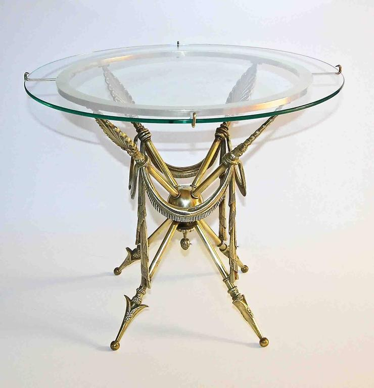 Italian French Arrow Swag Neoclassic Brass End or Side Table For Sale