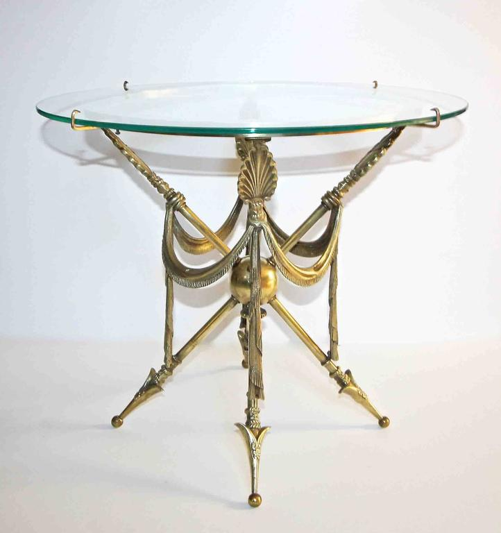 Mid-20th Century French Arrow Swag Neoclassic Brass End or Side Table For Sale