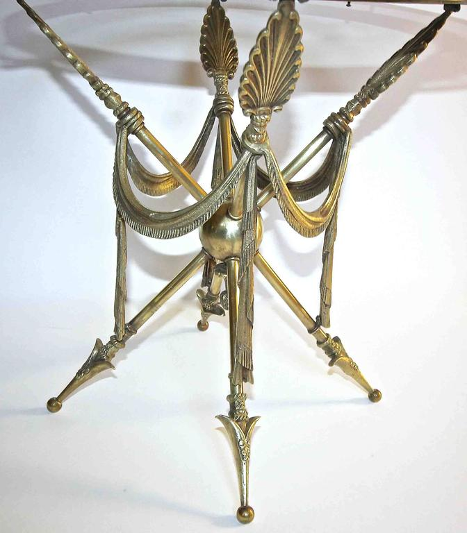 French Arrow Swag Neoclassic Brass End or Side Table For Sale 2