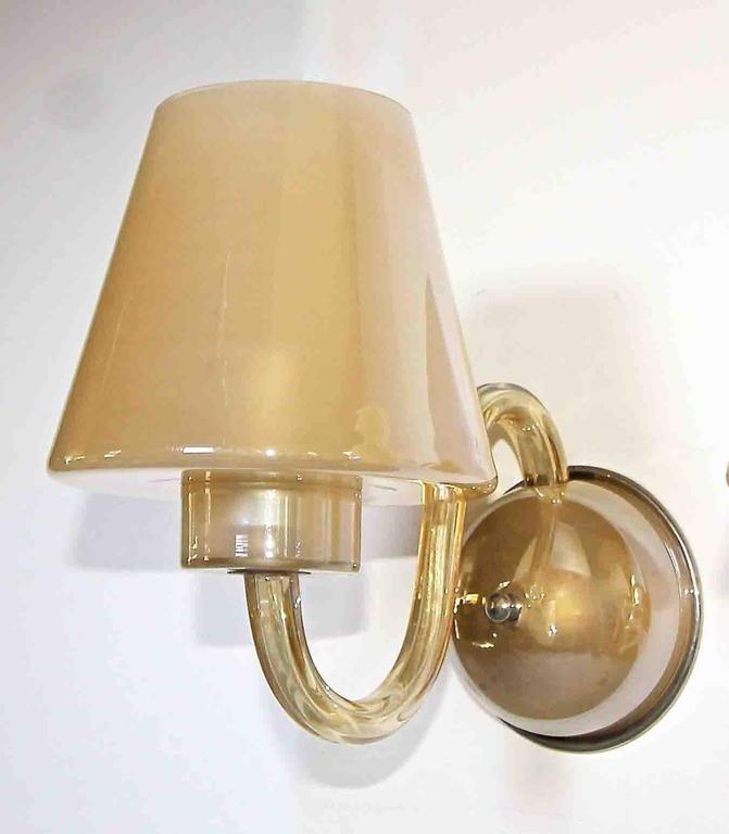 Pair of Murano Italian Gold Champagne Glass Wall Sconces For Sale at 1stdibs