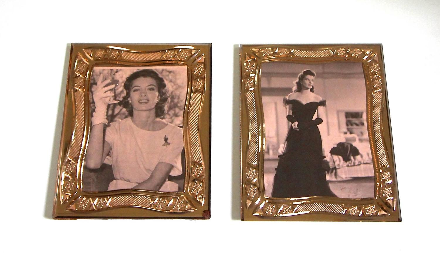 pair of deco cut glass picture frames for sale