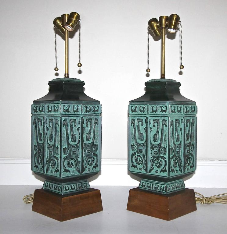 Pair Of James Mont Style Asian Patinated Bronze Table