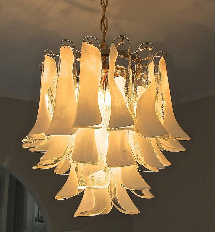 Metal Mazzega Murano Clear and White Petal Chandelier For Sale