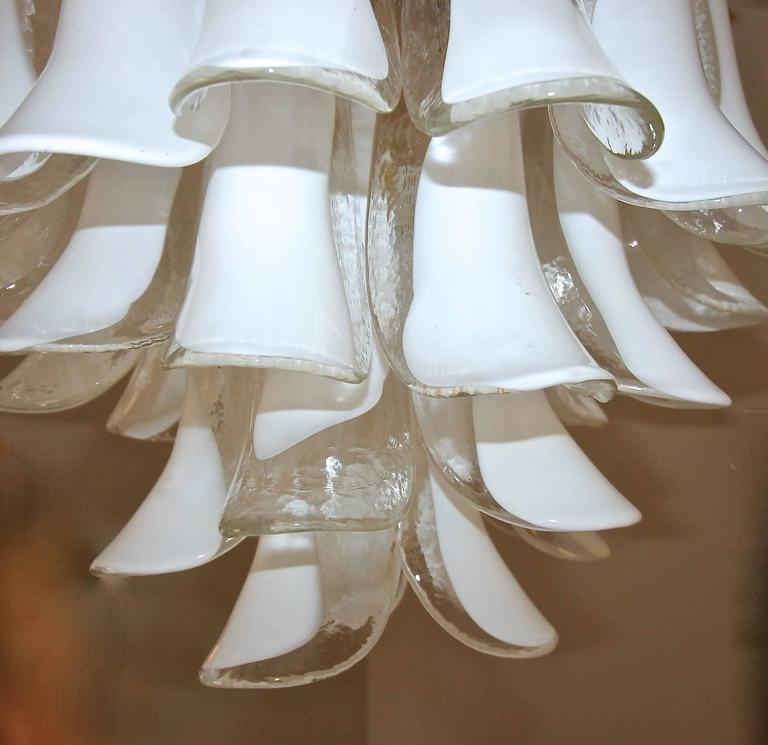 Mazzega Murano Clear and White Petal Chandelier For Sale 1