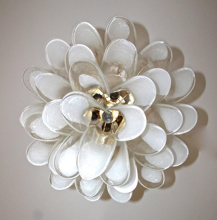 Mid-20th Century Mazzega Murano Clear and White Petal Chandelier For Sale