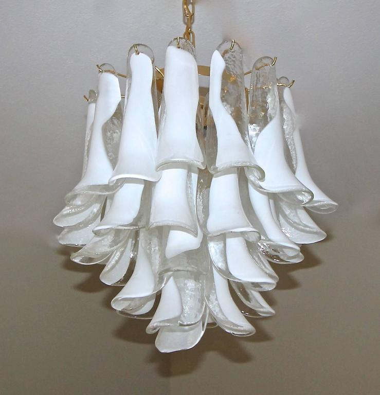 Mazzega chandelier with handblown clear and white glass