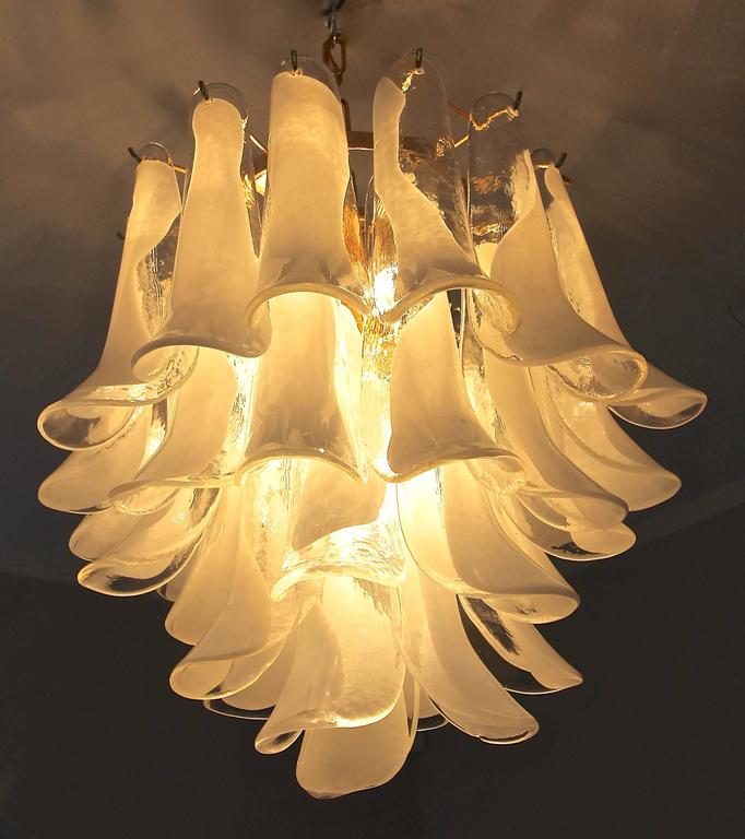 Plated Mazzega Murano Clear and White Petal Chandelier For Sale