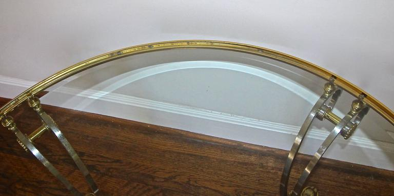 Jansen Style Brushed and Steel Brass Round Neoclassic Coffee Table For Sale 4