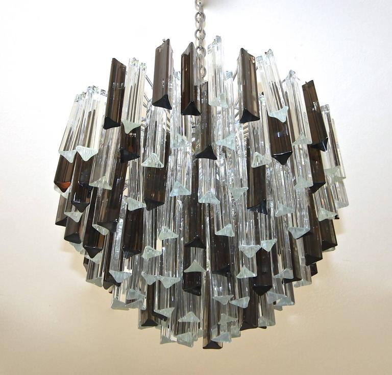 Round Larger Size Multi Tier Triedri Glass Chandelier With Clear And Smoke Colored Crystal