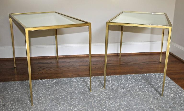 Late 20th Century Pair of Brass German Side End Tables For Sale