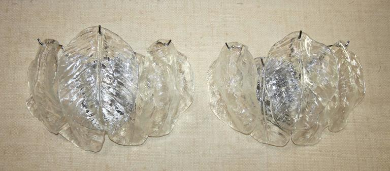 Plated Pair of Italian Murano Mazzega Clear Leaf Wall Light Sconces For Sale
