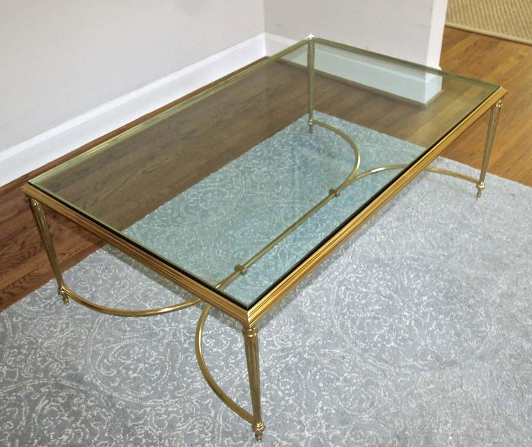 Large French Coffee Table: Large French Louis XVI Neoclassic Style Solid Brass Coffee
