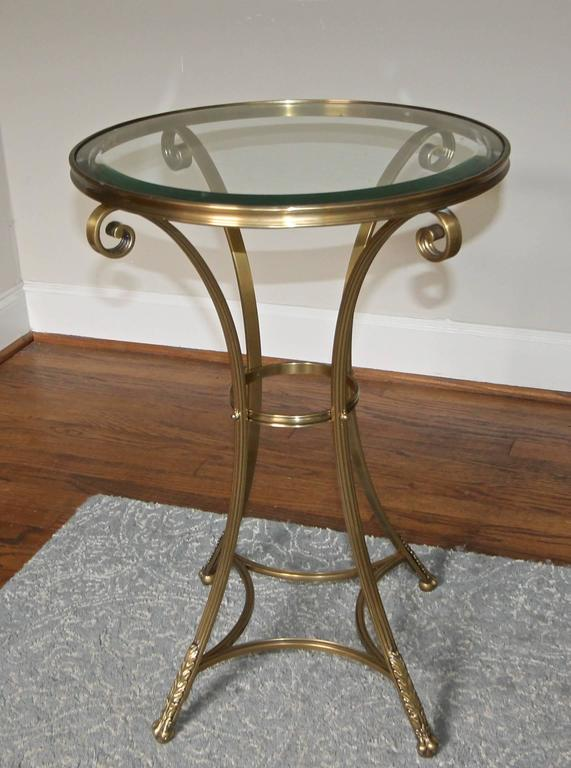Neoclassic Brass Round Gueridon Table With Paw Feet For Sale At 1stdibs