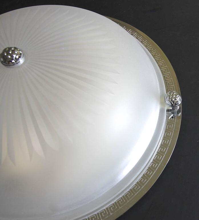 Three Vaughan Regency Style Greek Nickel And Glass Flush
