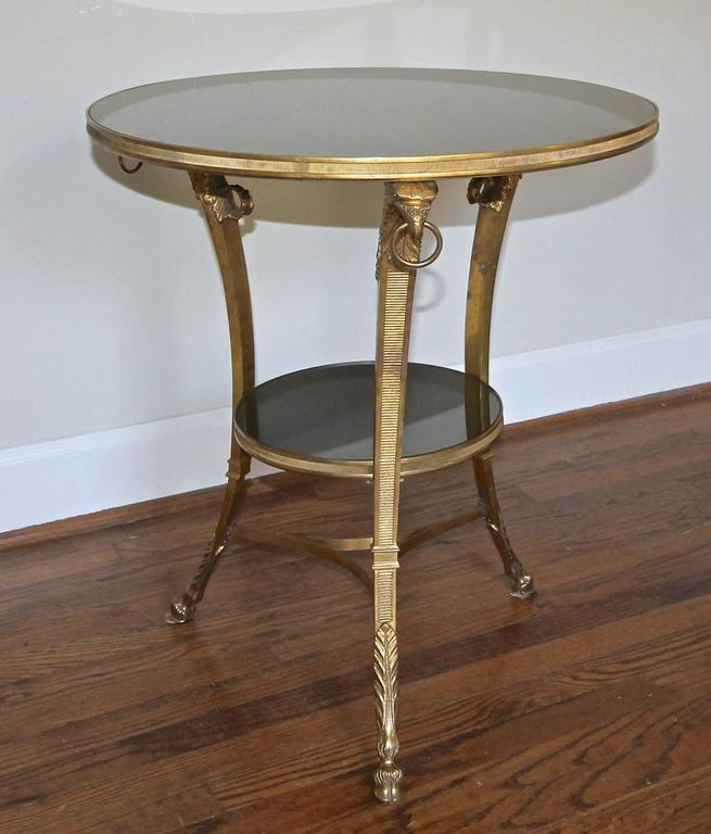 Early 20th Century French Gilt Bronze Glass Neoclassical Eagle Gueridon Side Table For Sale