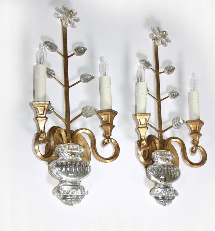 French Crystal Wall Sconces : Pair of Bagues Style French Crystal Gilt Flower Wall Sconces For Sale at 1stdibs