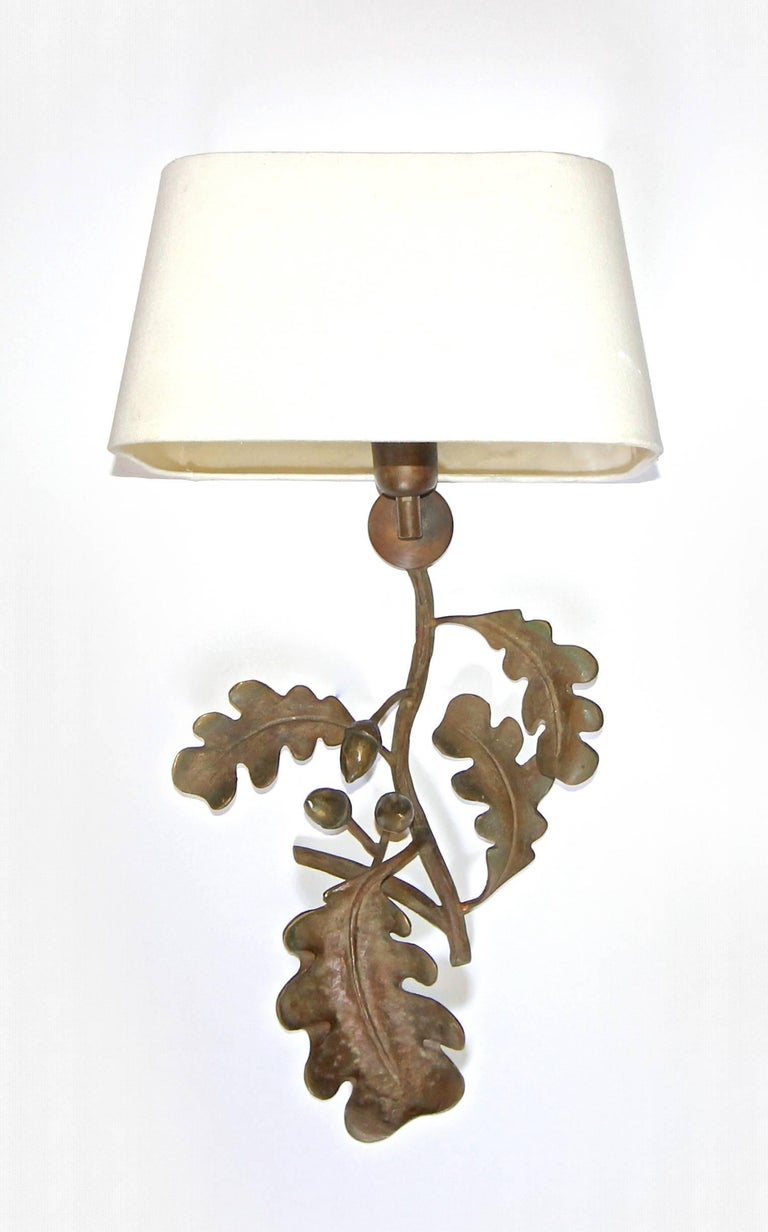 Pair of Large French Bronze Oak Leaf and Acorn Wall Sconces For Sale at 1stdibs