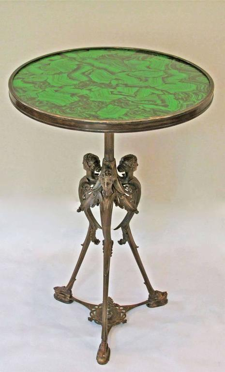 French Bronze Neoclassic Faux Malachite Side Table In Excellent Condition For Sale In Palm Springs, CA