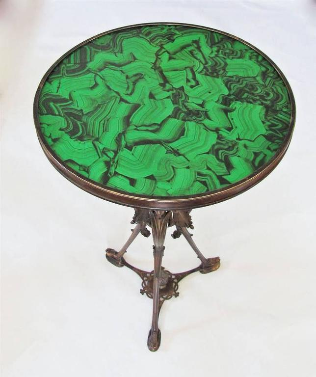 French Bronze Neoclassic Faux Malachite Side Table For Sale 4