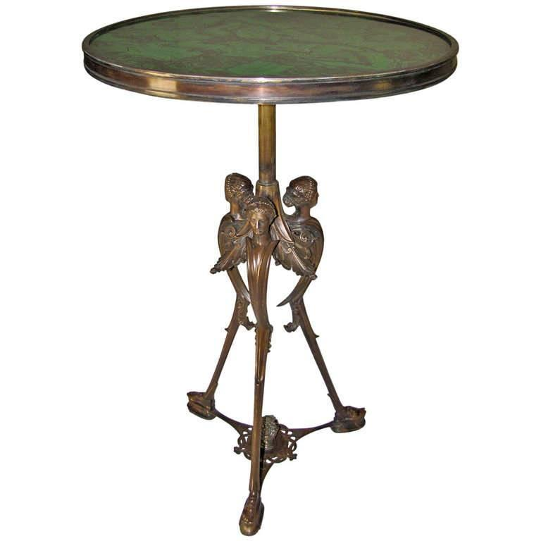 French Bronze Neoclassic Faux Malachite Side Table For Sale 5