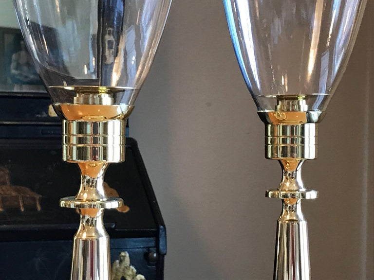 American Pair of Tommi Parzinger Brass Hurricane Candleholders by Dorlyn Silversmiths For Sale