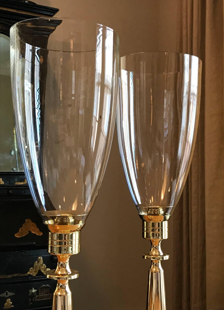 Lacquered Pair of Tommi Parzinger Brass Hurricane Candleholders by Dorlyn Silversmiths For Sale